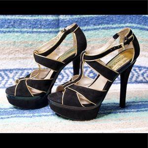 Michael Kors Black & Gold T-Strap Suede Heels